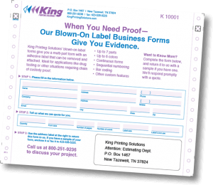 Blown on, affixed label and form combination
